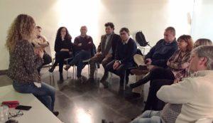 Blanca Moreno, sociòloga experta en gènere, l'Alcalde de Martorell, Xavier Fonollosa i l'equip govern